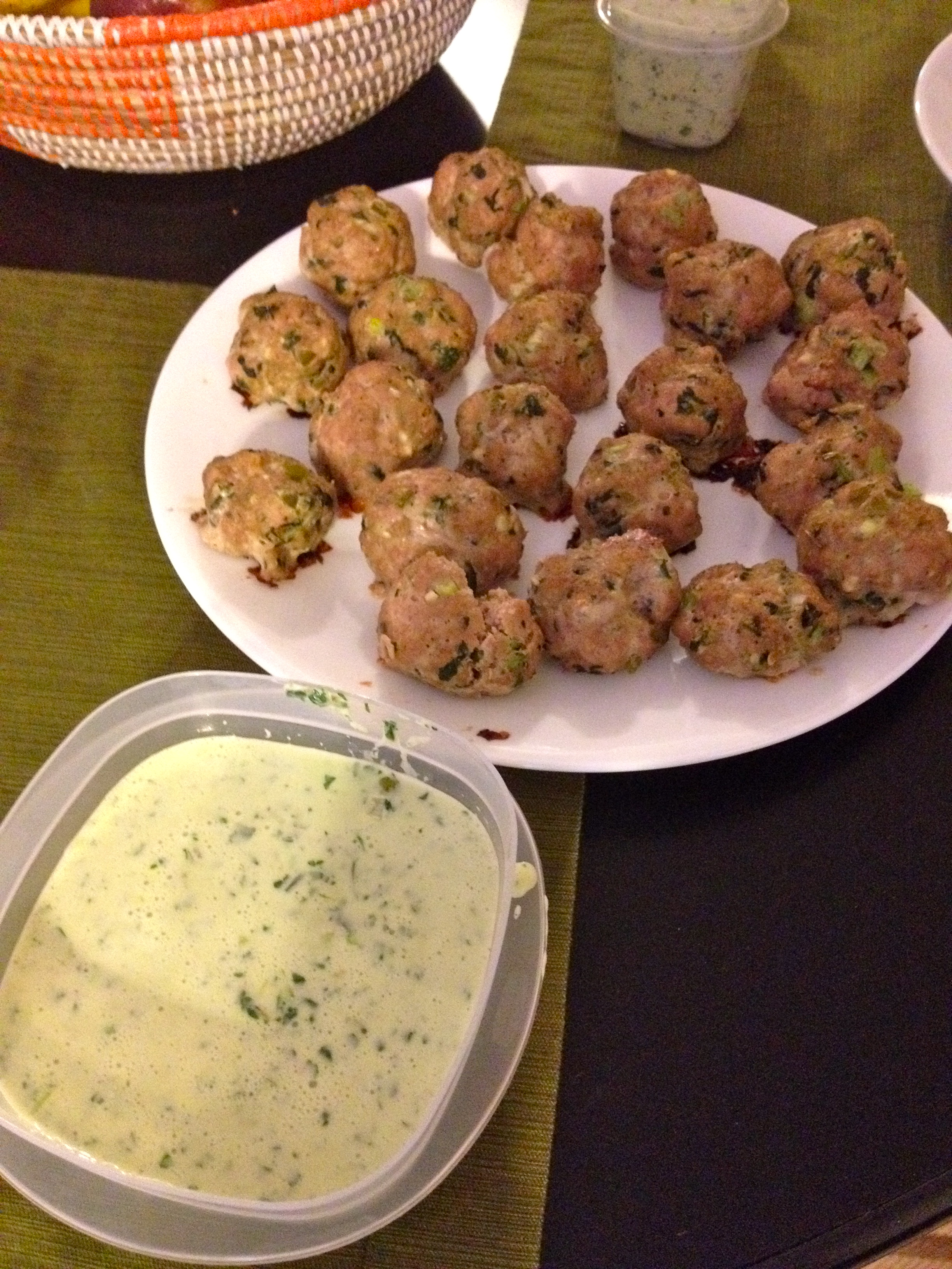 ... cooked southwest turkey meatballs with creamy cilantro dipping sauce